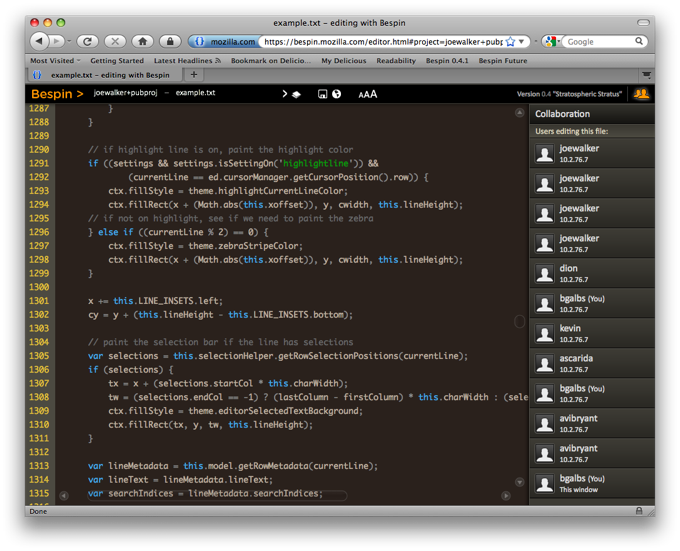 Bespin Collaboration Screenshot